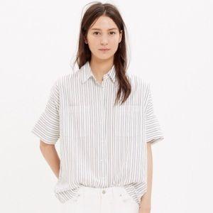 Madewell courier stripe oversized boyfriend shirt